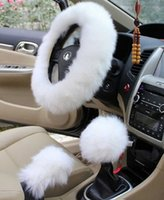 Wholesale Winter Warm Faux Wool Handbrake Cover Gear Shift Cover Steering Wheel Cover quot x quot Set