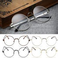 Unisex big nerd glasses - Chic Eyeglasses Retro Big Round Metal Frame Clear Lens Glasses Nerd Spectacles