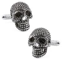 Wholesale Super Quality Design Black Skeleton Skull Plain Metal Men s Trendy Cuff Links Pair Sale With Free Box