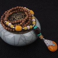 al por mayor al por mayor collar hecho a mano étnica-Venta al por mayor-evade el collar étnico de la cera de la síntesis, joyería de la vendimia de la turquesa, hecho a mano del sanwood Buddha rebordea el collar de la vendimia de la calcedonia