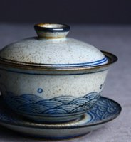 Wholesale Jingdezhen traditional hand painted blue and white tureen coarse pottery bowl of pure Handmade retro painted three Zen tea