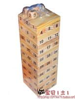 Wholesale Tumbling Tower Toys Jenga Board Team Game Toy Wood Building Blocks Kids Family Camping bar game