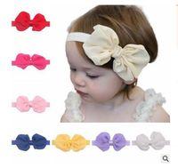 Wholesale baby girl kids elastics hair head bands flower satin ribbon bows headband accessories for newborns hair wrap hairband headwear