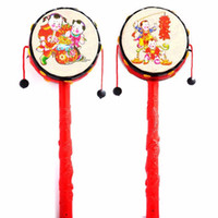 Wholesale Baby Kids Cartoon Hand Bell Toy Wooden Rattle Drum Musical Instrument Chinese Traditional Rattle Drum Spin Toys For Baby