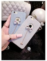 apple silicon rubber - For S7 edge Bling Diamond Crystal Bowknot Ultra Thin Soft Silicon Rubber Case IPhone S Plus Samsung Shiny Rhinestone Stylish Deluxe