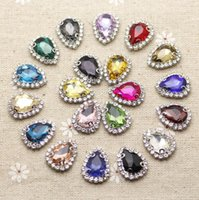 Wholesale mm Crystal Mix Color Waterdrop Sew On Rhinestone With Claw Setting Silver Back Crystal rhinestone Button With Holes