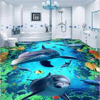 Wholesale high quality Custom D floor wallpaper wear non slip waterproof thickened self adhesive PVC floor sticker painting Murals color