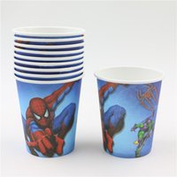 bamboo drinking glasses - happy birthday decoration event party boys spiderman theme cartoon kids favors paper drinking cups glass supplies