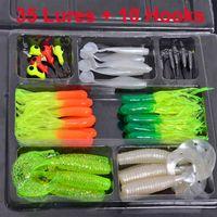 Wholesale 35Pcs Soft Plastic Worm Fishing Baits Lead Jig Head Hook Simulation Fishing Lure Set Tackle Box Fishing Tool Equipment H14769