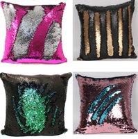 Wholesale 10Pcs cm Hi Reversible Sequin Mermaid Throw Pillow Cushion Cover Car Home Decoration Sofa Decor Decorative Pillowcase