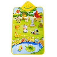 Motif de tapis de bébé Prix-Vente en gros- Tapis musical pour bébés Kid Dream Farm Land Pattern Play Mat Child Crawling Blanket