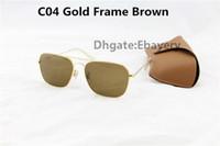 50pcs Par les lunettes de soleil de mode de DHL Rectangle pour les hommes Lunettes de soleil UV400 des femmes Lunettes de soleil de métal d'or Brown 58mm avec les boîtes brunes Boîte 9 Couleur