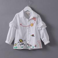 best kids wear - Fashion New Childrens Clothes White Girls Cartoon Shirts Kids Tops Blouses Spring Autumn babyToddler Shirt Best cotton T Shirts wear A39