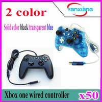 50pcs Black Wired Controller Pour XBOX One Double Vibration Joystick Gamepad Pour Xbox One YX-one-02