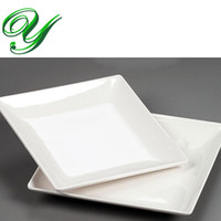 Wholesale Melamine dinner plates dishes outdoor picnic dinnerware wedding buffet serving tray inch white square sushi salad dessert plastic plates