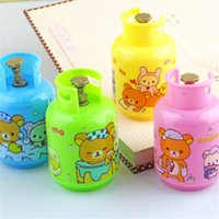 Wholesale Cute Kawaii Rilakkuma Plastic Pencil Sharpener Creative Gas Tank Sharpener For Kids School Supplies