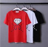 achat en gros de imprimé floral t-shirts femmes-Les nouveaux hommes de T-shirt de coton de la mode des hommes d'impression de lettres de diamant des T-shirts d'amants de marque de marée d'été de la haute qualité 2017 nouveaux GABYDED