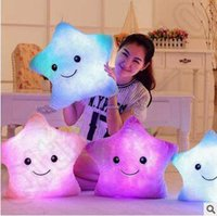 Wholesale 5 Color cm Emoji Luminous Pillow Christmas Toys Led Light Pillow Plush Pillow Colorful Stars Kids Toys Birthday Gifts CCA5438