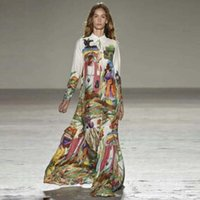 abstract dress - Maxi Dresses The Spring of In Europe and The Runway Looks Abstract Printing Lapel Long Sleeve A Word Skirt Sexy Long Dress
