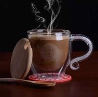 Wholesale Coffee Cup Gift Sets - New Glass Tea Coffee Cups Handmade Starbucks Style Mug for Christmas Gifts (1 Set  Lid+Mug+Cup Mat+Spoon)