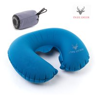 air plane kits - Hot TPU folding inflatable air pillow Outdoor travel U shape neck blow Up cushion Portable flocking plane pillows travel kits
