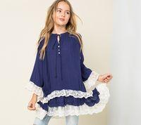 big clothes brands - Children dress Girls loose lace falbala long sleeve dress kids bows cotton lace falbala dress Autumn New big girls clothing T A9335