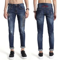 Brand Name Jeans Hombres Bordados Carta Multi Patchwork Bleach Blanco Ripped Efecto Skinny Fit Denim Pantalones Hombre