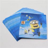 Wholesale cartoon Minions paper napkin tissue for kids happy birthday party decoration supplies handkercheif