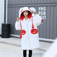 Wholesale New women winter warm down jacket coat cartoon whimsy bear lovely hooded Ms bread overcoat