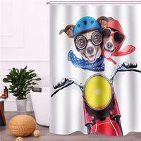 ГОРЯЧЕ !!! 180x200cm Водонепроницаемый занавес для душа с двумя собаками Велосипедный скутер с занавеской с 12 крючками для ванной