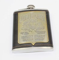 alcohol patches - oz patch Stainless steel flagon JB Whiskey Alcohol hip Flask Metal Liquor Leather Bottle Drinkware petaca matara flasque alcool