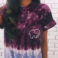 Wholesale New Summer Women T Shirt Tops Tee purple Print Animal Elephant T Shirt Loose Long Sleeve Harajuku Tops