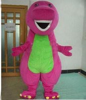 Mascot Costumes barney halloween costume - 2017 new Profession Barney Dinosaur Mascot Costumes Halloween Cartoon Adult Size Fancy Dress