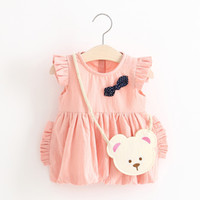 Wholesale Baby Girls Ruffle Sleeves Bud Dresses Spring Kids Boutique Clothing Age Years Kids Solid Color Dresses with Bear Bag