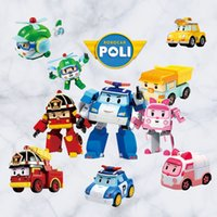 Removable PVC Abstract 2PCS Cartoon deformation police car robot design kindergarten early childhood children 's room bedroom decoration wall Stickers