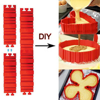 Wholesale 4 set DIY Silicone Cake Baking square rectangular Round Shape Mold Magic Bakeware Bake Snake Molud Pastry Tools