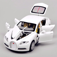 Wholesale 1 Scale White Bugatti Veyron Alloy Pull Back Car Toys Diecast Model W light sound Brinquedos Collection Kids Toys Gift