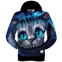 Wholesale Harajuku new fashion fall men womens D graphic pullover hoodie print Cheshire Cat hooded sweatshirt autumn winter tops