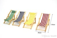 Wholesale Wooden Lounge Chair Red Blue Yellow Green White Striped for Dollhouse Miniature Furniture