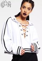 Wholesale New arrive Loose Hoodie Crop Top Rihanna hoodie Striped bandage Belt neck crop hooded hoodie sweatshirt Black white gray YQ