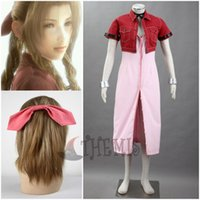 aerith cosplay - Anime Final Fantasy VII Aerith Cosplay Costume Red Suit Hair accessories Bracelet custom made size