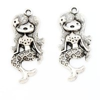 antique beauty - Antique Silver Mermaid Girl Beauty Charms Pendants Jewelry DIY L016 x21 mm Jewelry Findings Components