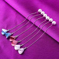 Wholesale he new south Korean version of fashion earrings Long contracted tassel pearl ear wire cloth art flowers Female stud earrings silver earrings