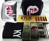 Wholesale Kylie Makeup Bag Gift Box Golden Box Gloss Suits Holiday Collection Cosmetics Birthday Bundle Bronze Kyliner Kylie Jenner Brow Brush