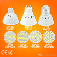 Wholesale E27 GU10 MR16 LED Spotlight V SMD LED spotlight bulb light Energy saving Spot light lamp Crystal lamp ambry light