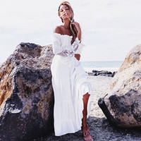 bell sleeves dress - Sexy A White Sand Beach Europe and The United States Women s Lace Stitching Off the shoulder Dress Skirt
