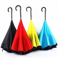 Wholesale Creative Inverted Umbrella Double Layer Reverse Rainy Sunny Umbrella with C handle J handle inside out Windproof for Men Women Kid Christmas