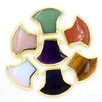 axe charm - Natural Gem Stone Pendant Pendulum Jewelry Gold Plated Axe Charms Bohemian Healing Chakra Amulet Fashion Mens Jewelry