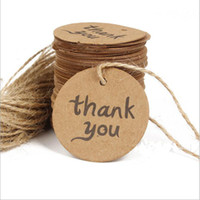 Wholesale 4cm Thank You Kraft Paper Price Hang Tags Wedding Party DIY Cards Xmas Gift Wrap Packaging Brown Label Bookmark Decoration