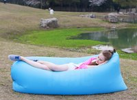 Wholesale Quality Fast Inflatable Air Sleeping Bag Hangout Lounger Air Camping Sofa Portable Beach Nylon Fabric Sleep Bed with Pocket and Anchor HHAK
